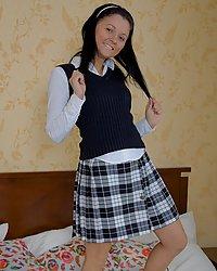 Sweet babe in school uniform is open for new sex-adventures