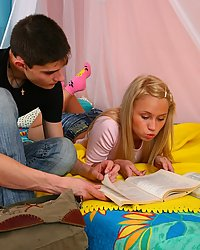 Hot blonde teen studys her boyfriends hard cock